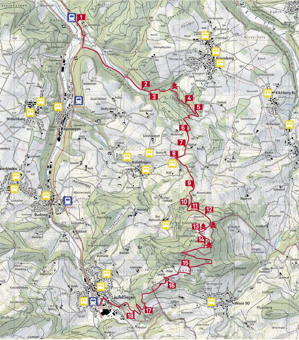 Karte Erlebnispfad wisenbergwärts